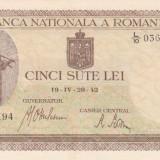 ROMANIA 500 lei 20 aprilie 1942 - filigran vertical XF+++/AUNC!!! - Bancnota romaneasca