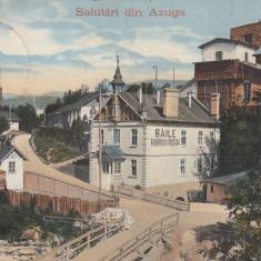 AZUGA, SALUTARI DIN AZUGA, BAILE FABRICEI DE POSTAV, CIRC.SEP.''912 - Carte Postala Muntenia 1904-1918, Circulata, Printata