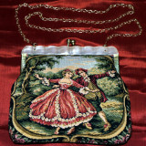 Geanta poseta goblen Franta. Vintage. Anii 60. - Geanta Dama, Culoare: Verde, Marime: Mica, Geanta plic, Material crosetat