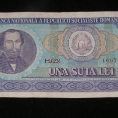 Bancnota una suta lei albastra RSR 100 lei in stare buna numismatica colectie(54)