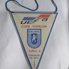 FANION UNIVERSITATEA CRAIOVA-DINAMO KIEV TURUL II CUPA CUPELOR 23 OCT.1985 - Fanion fotbal
