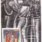 Maxima manastirea Voronet pictura religioasa fresce stampila Gura Humorului 1976, Arta