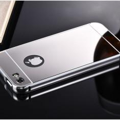 Iphone 5 5S 5SE - Bumper Rama Aluminiu SiCapac Plastic Argintiu Oglinda - Bumper Telefon Apple