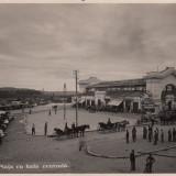 PITESTI, PIATA CU HALA CENTRALA - Carte Postala Muntenia dupa 1918, Circulata, Fotografie