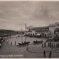 PITESTI, PIATA CU HALA CENTRALA - Carte Postala Muntenia dupa 1918, Necirculata, Fotografie