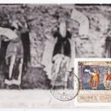 Maxima manastirea Sucevita pictura religioasa fresce stampila fata-verso 1976, Arta