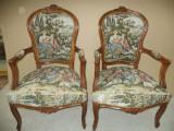 Set de 2 superbe fotolii in stilul Ludovic cu tapiserie goblen
