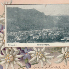 BRASOV. BRASSO. KRONSTADT. VEDERE GENERALA, CLASICA, CIRCULATA SEP.''899 - Carte Postala Transilvania pana la 1904, Printata