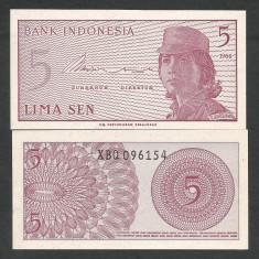 INDONESIA INDONEZIA 5 SEN 1964 UNC [2] P-91r, Serie X- RARA, necirculata - bancnota asia