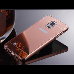 Bumper Samsung Galaxy S5 G900 Aluminiu + Capac Mirror Rose Gold - Bumper Telefon, Roz