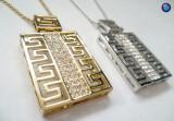 Lantisor VERSACE-placat cu aur galben 18k si swarovski zirconiu-GRAVAT