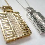 Lantior VERSACE bijuterii- placat cu aur 18k si cristale zirconiu - Lantisor placate cu aur