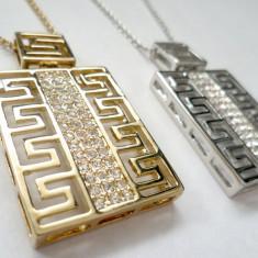 SET- CERCEI + Colier Versace AUR 18k si Swarovski + CUTIE CADOU - Colier placate cu aur