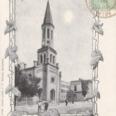BUCURESTI BISERICA LUTHERANA CLASICA TCV CIRCULATA 1904 - Carte Postala Muntenia pana la 1904, Printata