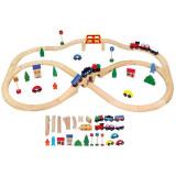 Set de Tren cu 49 de Piese - VIGA - Trenulet, Lemn, Unisex