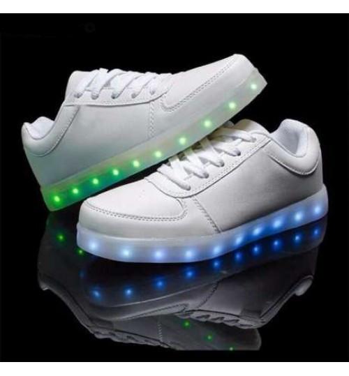Adidasi albi cu Leduri Led 7 culori 4 moduri flash
