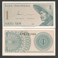 INDONESIA INDONEZIA 1 SEN 1964 UNC [2] P-90r, Serie X- RARA, necirculata - bancnota asia