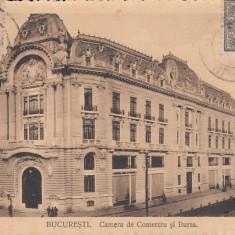 BUCURESTI, CAMERA DE COMERT SI BURSA, TCV, CIRCULATA JUN. 1914 - Carte Postala Muntenia 1904-1918, Printata