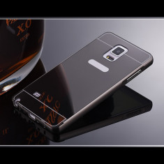 Bumper Samsung Galaxy S5 G900 Aluminiu + Capac Mirror Black - Bumper Telefon, Negru