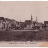 Romania, Szaszregen, Reghin, carte post. circulata 1910: Kereszt utca, animat - Carte Postala Transilvania 1904-1918, Fotografie