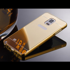 Bumper Samsung Galaxy S5 G900 Aluminiu + Capac Mirror Gold - Bumper Telefon, Auriu