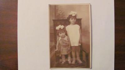 GE - Ilustrata fotografie veche Campulung Arges doua fetite necirculata foto