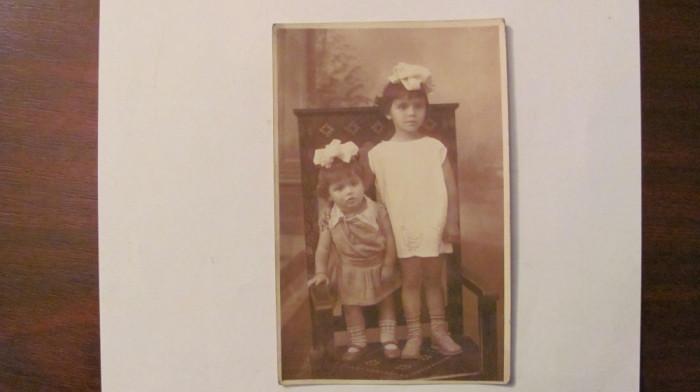 GE - Ilustrata fotografie veche Campulung Arges doua fetite necirculata