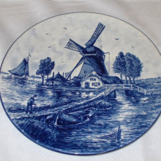 Farfurie - portelan Olanda - Delft Blue - pictata manual