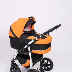 Carucior copii 3 in 1 Baby-Merc Q9 (negru cu portocaliu), Pliabil, Gri, Maner reversibil