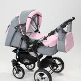 Carucior copii 3 in 1 Baby-Merc Junior Plus (gri deschis cu roz), Pliabil, Maner reversibil