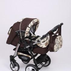 Carucior copii 3 in 1 Baby-Merc Junior Plus (maro cu imprimeu bufnite), Pliabil, Gri, Maner reversibil