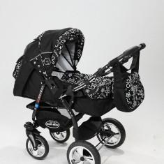 Carucior copii 3 in 1 Baby-Merc Junior Plus (negru cu imprimeu floral), Pliabil, Gri, Maner reversibil