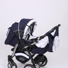 Carucior copii 3 in 1 Baby-Merc Junior Plus (albastru inchis cu alb), Pliabil, Gri, Maner reversibil