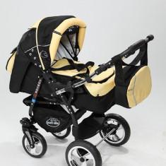 Carucior copii 3 in 1 Baby-Merc Junior Plus (negru cu galben), Pliabil, Gri, Maner reversibil