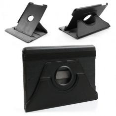 Husa tip carte neagra (interior gri) cu stand rotativa pentru tableta Apple iPad Air - Husa Tableta Vodafone