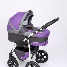 Carucior copii 3 in 1 Baby-Merc Q9 (gri cu violet), Pliabil, Maner reversibil