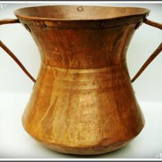 VAS / CĂLDĂRUȘĂ / CAZAN VECHI TIP AMFORĂ CONFECȚIONAT DIN CUPRU MASIV - 2 KG! - Metal/Fonta, Vase