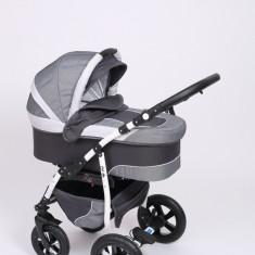 Carucior copii 3 in 1 Baby-Merc Q9 (gri deschis cu gri inchis), Pliabil, Maner reversibil