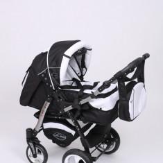 Carucior copii 3 in 1 Baby-Merc Junior Plus (negru cu alb), Pliabil, Gri, Maner reversibil