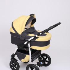 Carucior copii 3 in 1 Baby-Merc Q9 (negru cu galben), Pliabil, Gri, Maner reversibil