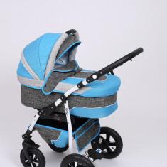 Carucior copii 3 in 1 Baby-Merc Q9 (gri inchis cu turcuaz), Pliabil, Maner reversibil