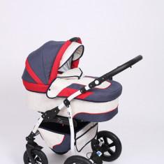 Carucior copii 3 in 1 Baby-Merc Q9 (bleumarin cu rosu si alb), Pliabil, Gri, Maner reversibil