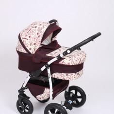 Carucior copii 3 in 1 Baby-Merc Q9 (bordoux cu imprimeu floral), Pliabil, Gri, Maner reversibil