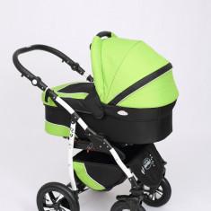 Carucior copii 3 in 1 Baby-Merc Q9 (verde cu negru), Pliabil, Gri, Maner reversibil
