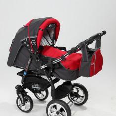 Carucior copii 3 in 1 Baby-Merc Junior Plus (gri inchis cu rosu), Pliabil, Maner reversibil