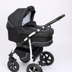 Carucior copii 3 in 1 Baby-Merc Q9 (negru), Pliabil, Gri, Maner reversibil