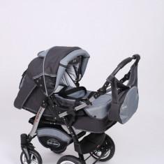 Carucior copii 3 in 1 Baby-Merc Junior Plus (gri inchis cu gri deschis), Pliabil, Maner reversibil