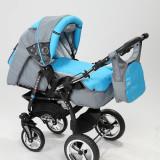 Carucior copii 3 in 1 Baby-Merc Junior Plus (gri deschis cu turcuaz), Pliabil, Maner reversibil