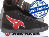 Adidasi barbat Airwalk Atlantic Mid - ghete skate - adidasi originali - piele, 43, 44.5, 46, Negru, Piele intoarsa