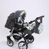 Carucior copii 3 in 1 Baby-Merc Junior Plus (gri cu imprimeu bufnite), Pliabil, Maner reversibil